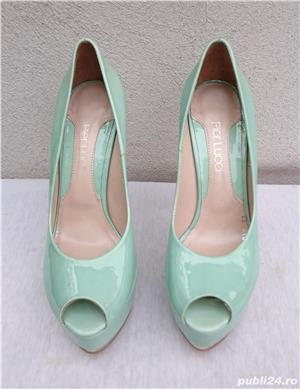 Pantofi dama eleganti din piele lacuita cu toc si platforma Pier Lucci - imagine 1