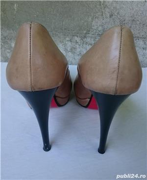 Pantofi dama din piele cu toc si platforma - imagine 4
