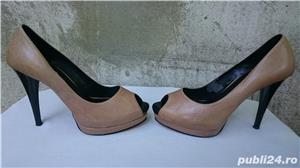 Pantofi dama din piele cu toc si platforma - imagine 2