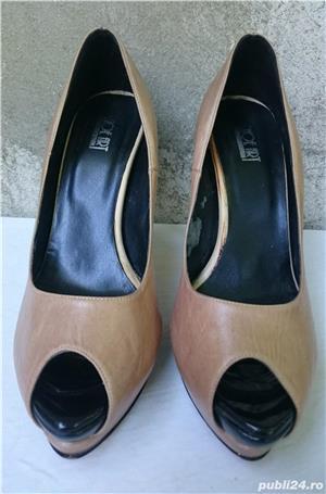 Pantofi dama din piele cu toc si platforma - imagine 1