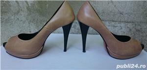 Pantofi dama din piele cu toc si platforma - imagine 3