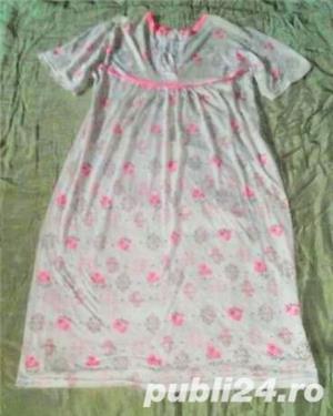 Camasa de noapte/Pijama dama, 100%coton subtire, model frumos, marimi L, XL, 2XL, 4XL, 6XL - imagine 1