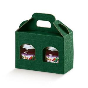 Cutii cadou din carton cu maner pentru 2 sau 3 borcane, cutii cadou dimensiuni variate de borcane  - imagine 1