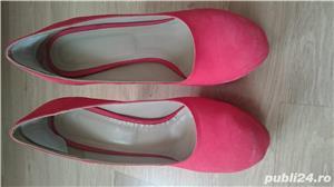 Pantofi cu toc corai din piele intoarsa, marimea 40 - 40,5 - imagine 7
