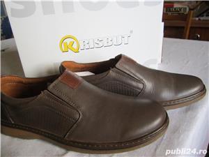 Pantofi din piele neteda maro pentru barbati.Noi. Marime 41-Livrare GRATUITA* - imagine 7