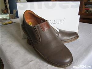 Pantofi din piele neteda maro pentru barbati.Noi. Marime 41-Livrare GRATUITA* - imagine 4
