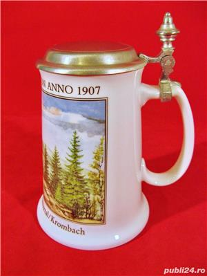 Halba bere din portelan cu capac zinc (Model Nr.34) - Germania  - imagine 6