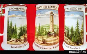 Halba bere din portelan cu capac zinc (Model Nr.34) - Germania  - imagine 3