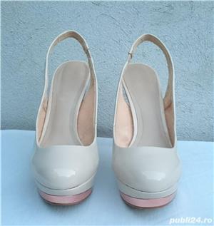 Pantofi dama de vara, sandale piele lac, platforme cu toc Zara Woman - imagine 1