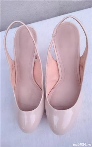 Pantofi dama de vara, sandale piele lac, platforme cu toc Zara Woman - imagine 3