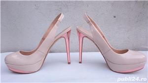 Pantofi dama de vara, sandale piele lac, platforme cu toc Zara Woman - imagine 5