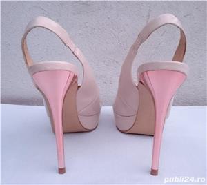 Pantofi dama de vara, sandale piele lac, platforme cu toc Zara Woman - imagine 6