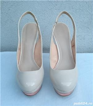 Pantofi dama de vara, sandale piele lac, platforme cu toc Zara Woman - imagine 2