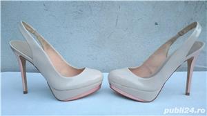 Pantofi dama de vara, sandale piele lac, platforme cu toc Zara Woman - imagine 4