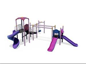 Ansamblu de joaca pentru copii topogan spirala , leagan dublu  - imagine 1