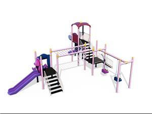 Ansamblu de joaca pentru copii topogan spirala , leagan dublu  - imagine 3