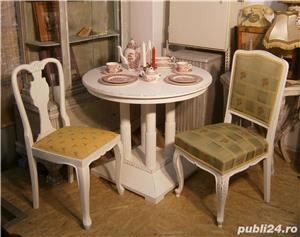 Masa veche din lemn masiv reconditionata (Mobila alba/Table) - imagine 2
