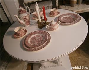 Masa veche din lemn masiv reconditionata (Mobila alba/Table) - imagine 5