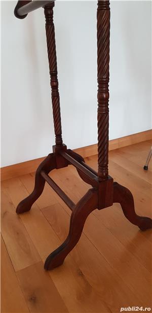 Vintage Valet haine de epoca lemn masiv sculptat finisat lacuit - imagine 6