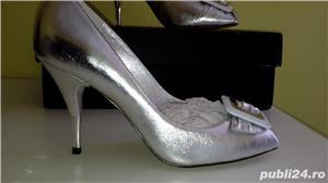 Pantofi Miss Sixty noi,40,argintii,piele naturala - imagine 1