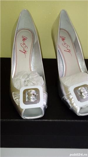 Pantofi Miss Sixty noi,40,argintii,piele naturala - imagine 5