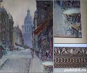 peisaj parizian, acuarela reprodusa prin fotogravura (dimensiuni mari) - imagine 2