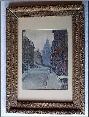 peisaj parizian, acuarela reprodusa prin fotogravura (dimensiuni mari) - imagine 1