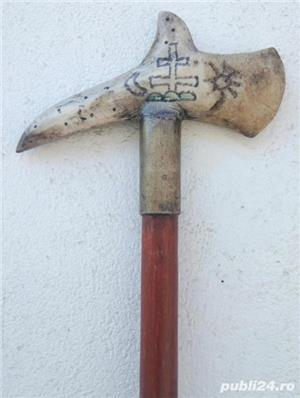 Obiect de colectie toiag baston cârja bota 95 cm sculptat în os - imagine 3