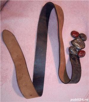 Curea din piele cu cataramă handmade montură cu pietre - imagine 1