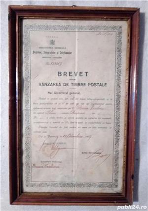 Brevet din 1929 ptr vanzarea de timbre postale Rasinari Sibiu 36x23 cm - imagine 1