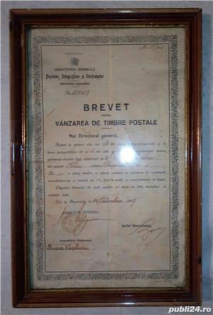Brevet din 1929 ptr vanzarea de timbre postale Rasinari Sibiu 36x23 cm - imagine 3