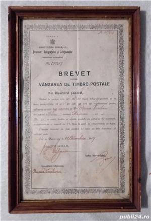 Brevet din 1929 ptr vanzarea de timbre postale Rasinari Sibiu 36x23 cm - imagine 4