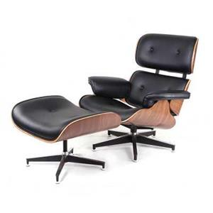 Fotoliu si taburet design Eames Lounge Chair design din piele - imagine 5