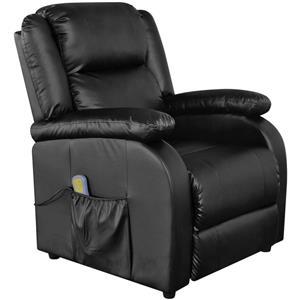 vidaXL Fotoliu de masaj electric, piele artificială, reglabil, negru 242512 - imagine 1