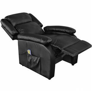 vidaXL Fotoliu de masaj electric, piele artificială, reglabil, negru 242512 - imagine 3