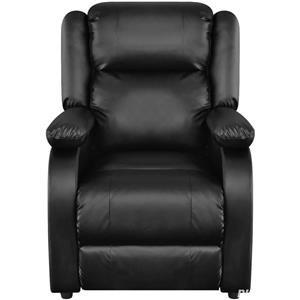 vidaXL Fotoliu de masaj electric, piele artificială, reglabil, negru 242512 - imagine 2