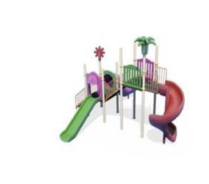 Ansamblu de joaca pentru copii topogan spirala , leagan dublu  - imagine 5