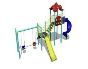Ansamblu de joaca pentru copii topogan spirala , leagan dublu  - imagine 4