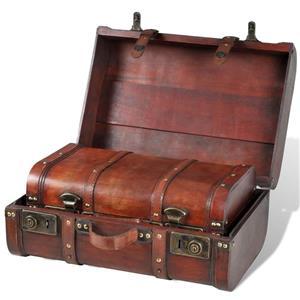 vidaXL Cufăr vintage din lemn, 2 bucăți, maro 240575 - imagine 3