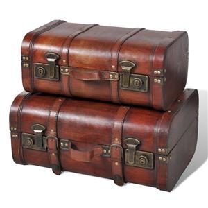 vidaXL Cufăr vintage din lemn, 2 bucăți, maro 240575 - imagine 1