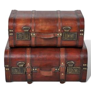 vidaXL Cufăr vintage din lemn, 2 bucăți, maro 240575 - imagine 2