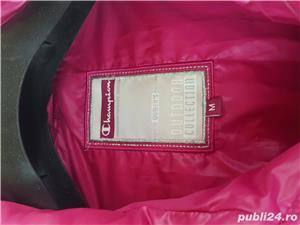 Geaca dama Champion roz cu puf de gasca marimea M slim merge la S  - imagine 4