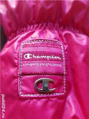 Geaca dama Champion roz cu puf de gasca marimea M slim merge la S  - imagine 3
