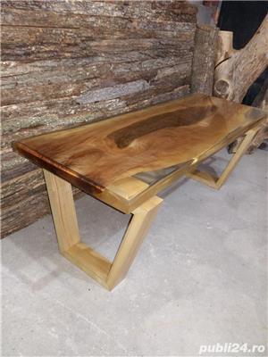 Masa cafea lemn masiv nuc - imagine 1