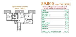 Apartament 3 camere, 2 locuri parcare si gradina de 70 mp, BLOC NOU - imagine 8