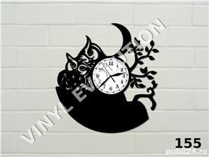Ceas de perete din vinil cu bufnite - imagine 1