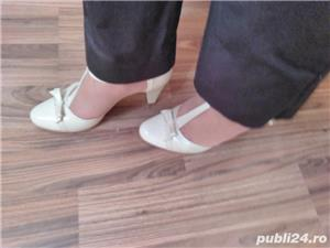 Pantofi de mireasa ivoire din piele - imagine 2