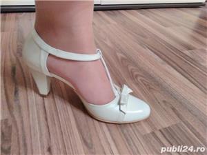 Pantofi de mireasa ivoire din piele - imagine 4