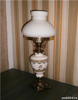 Lampadar vechi cu picior din portelan si bronz (Lampa/Veioza) - imagine 1