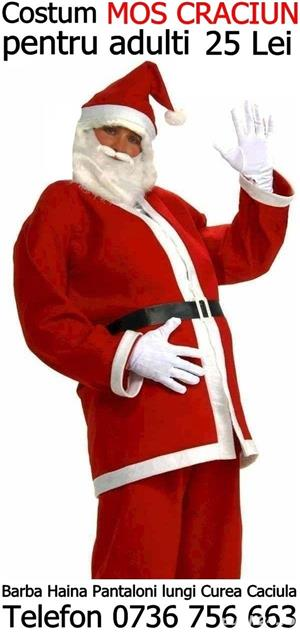 Vindem costum Mos Craciun adulti complet:barba haina pantaloni curea caciula,orice marime:M,L,XL,XXL - imagine 1